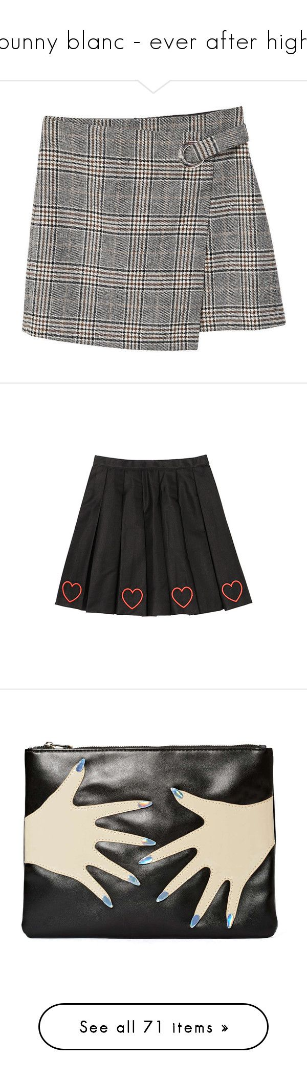 """""""bunny blanc - ever after high"""" by dwisniewska ❤ liked on Polyvore featuring skirts, bottoms, zipper skirt, mango skirts, wool skirt, checkerboard skirt, zip skirt, mini skirts, clothing - skirts and pleated skirt"""