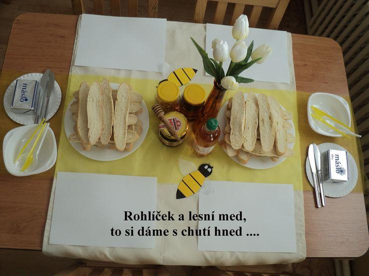 Včely - stolování a ochutnávka medu