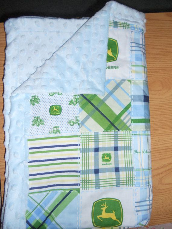Love this blanket!!! I wonder if I could find this fabric?!  John Deere baby Blanket FREE SHIPPING by KellysCraftyCreation, $30.99