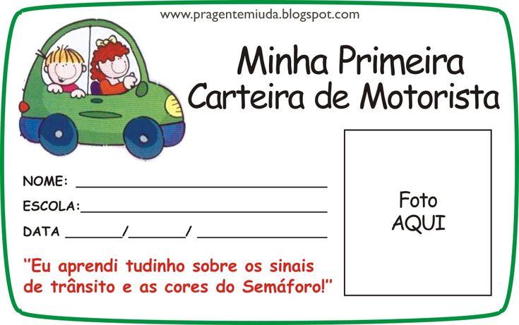 Carteira de motorista para imprimir e trabalhar em projetos de educação infantil sobre educação no trânsito.