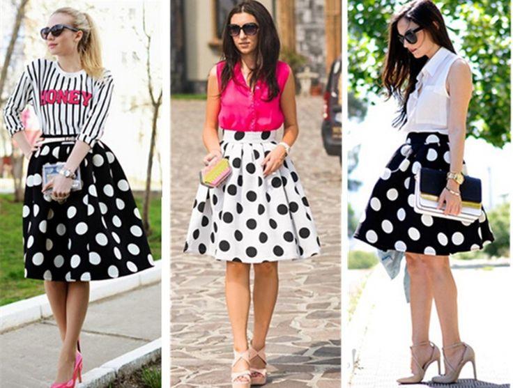 Aliexpress.com: Comprar Alta calidad 2014 nuevas mujeres de Vintage Hepburn estilo Polka Dots punto de cintura alta del vestido de bola de la falda Midi plisado Skater falda Swing de Faldas fiable proveedores en Sexy Lady Fashion World Co.,ltd