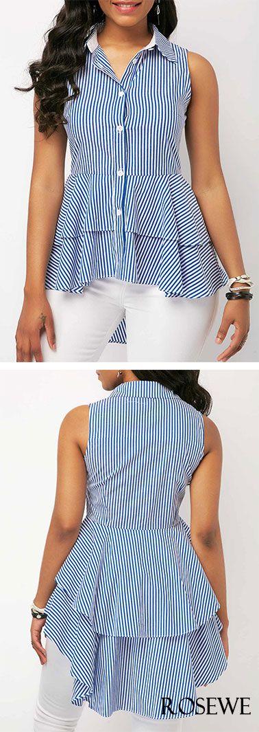 Dip Hem Sleeveless Striped Layered Blouse.#rosewe#blouse#top