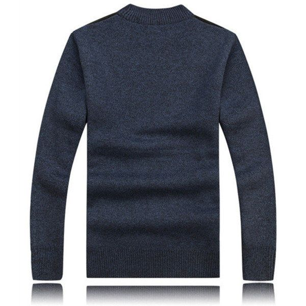 Mens Thick Sweaters Casual Knitting Splicing Shoulder Pullovers at Banggood