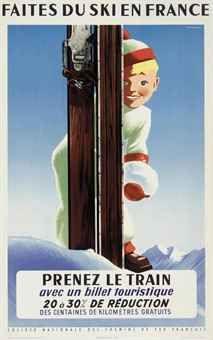 vintage ski poster - Roland Hugon - FAITES DU SKI EN FRANCE 1956