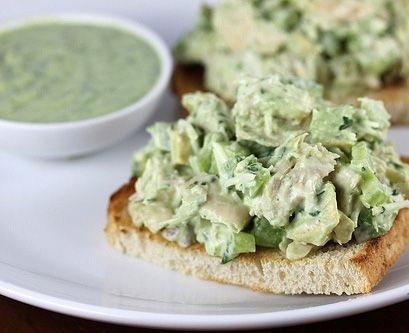 Avocado Chicken Salad - I love this on top of cucumber slices, adds a little crunch to it and a healthier choice than bread or crackers!