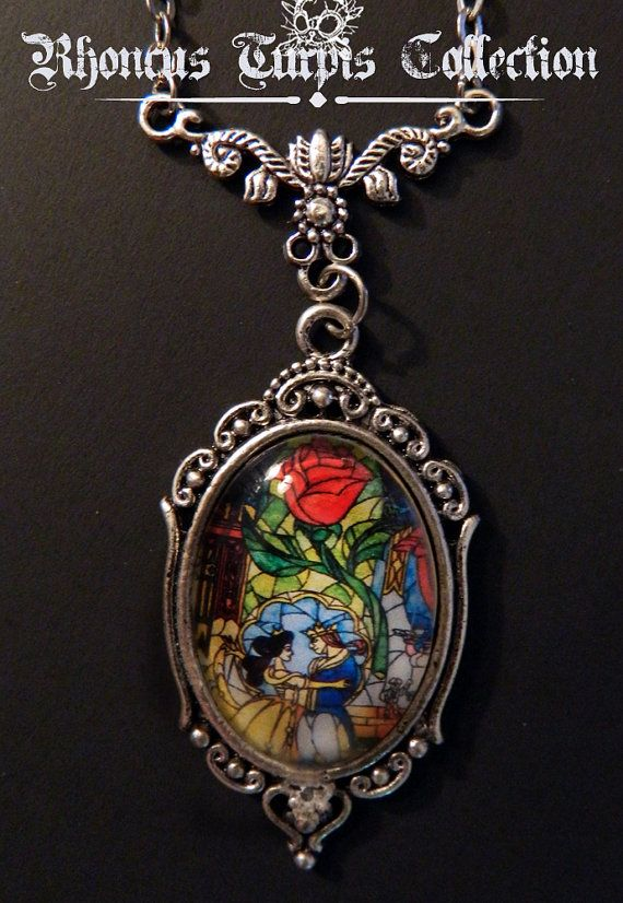 Disney Beauty & the Beast Stained Glass Cameo Cabochon Necklace on Etsy, $18.00