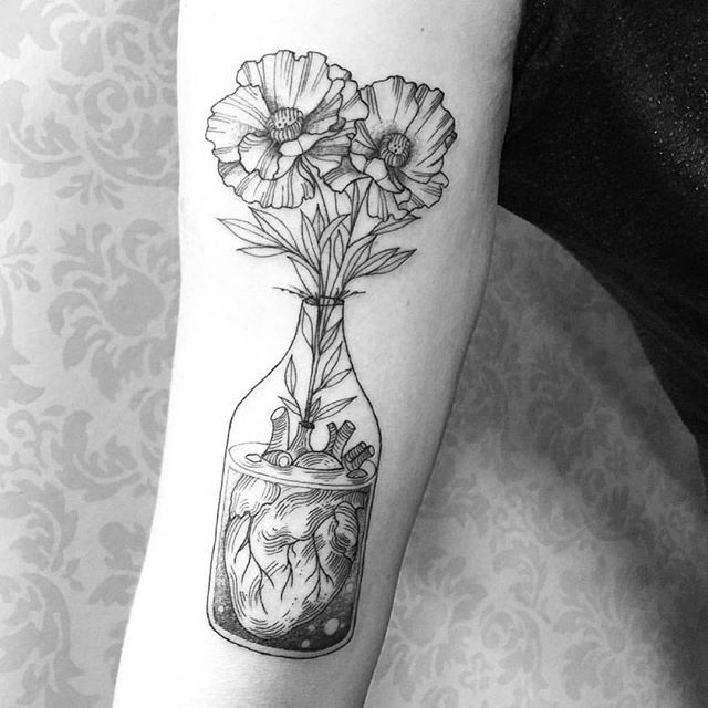 Flower In A Glass With Heart Arm Tattoo