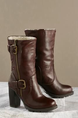 sherpa lined mid calf boots