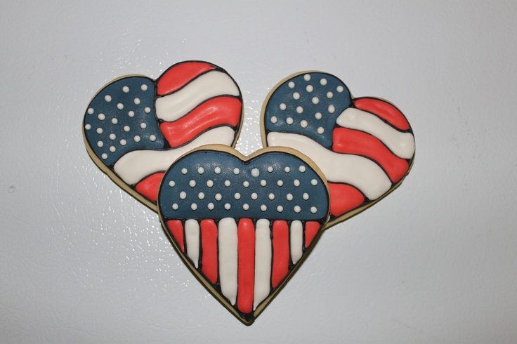 Patriotic Flag Decorated Sugar Cookies 1 Dozen (12) July 4th- Memorial day-Veterans-Heart Shape. $36.00, via Etsy.