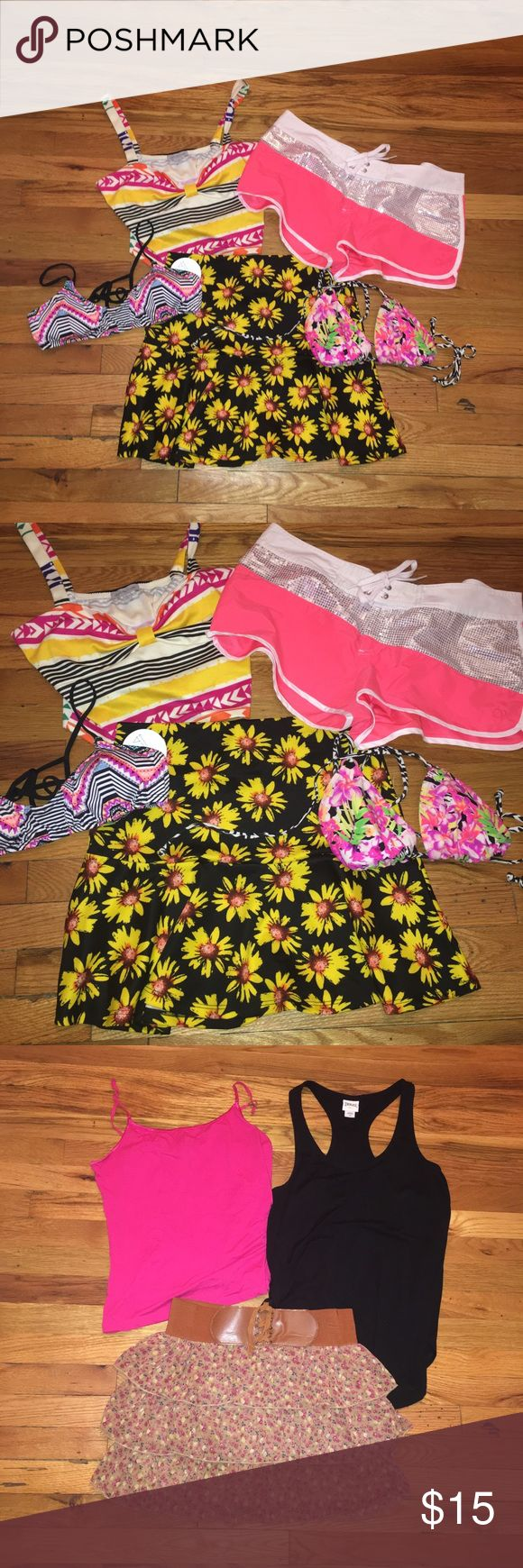 Size large clothing Lot Clothing lot size large includes: deb floral skirt, American rag butterfly high low skirt, forever 21 skirt, black tank, pink tank, Charlotte Russe multicolor crop top, flower ruffle mini skirt, two bikini tops, and sequin coral shorts Tops