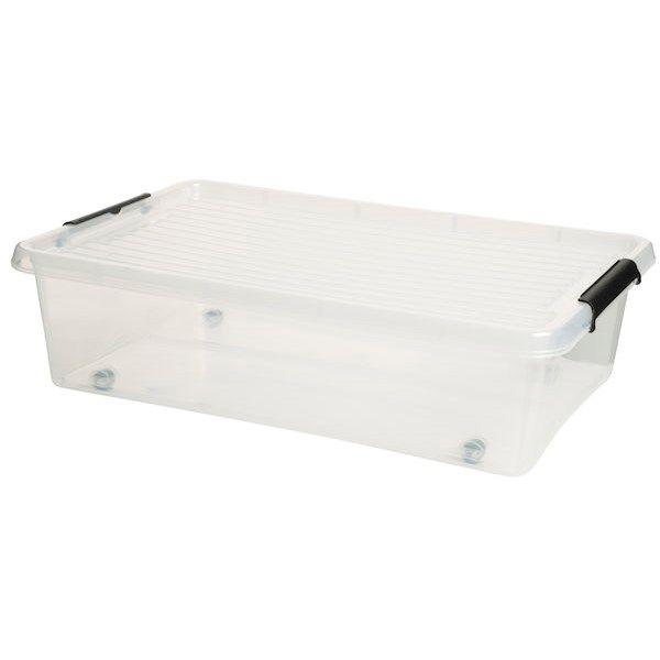 Sänglåda med lock och fyra hjul. Rymmer 22 liter. Mått: 58x39x16,5 cm. Perfekt till förvaring under sängen.