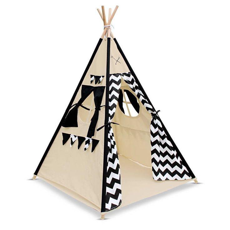 TeePee Tent 4 Poles with Storage Bag Black