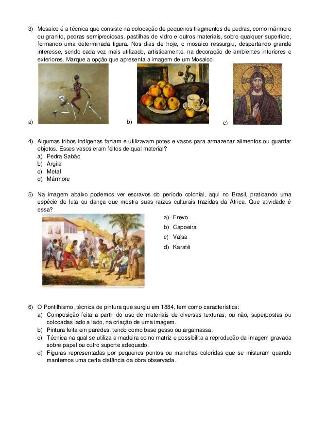 Avaliacao Diagnostica Arte 6 E 7 Anos 2013 Com Imagens