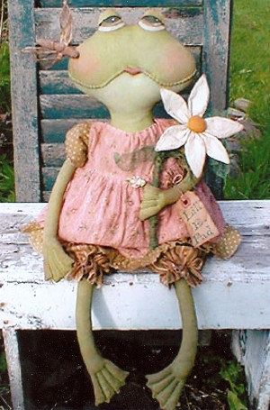 Lill E. Pad - Primitive Frog Doll Pattern by: Sweet by RoosterCreek