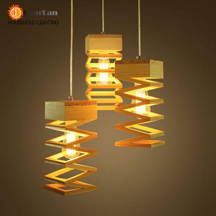 Современный лампы кулон дерево-пластиковые лампы кафе столовая из светодиодов висячие светильники деревянные бесплатная доставка
