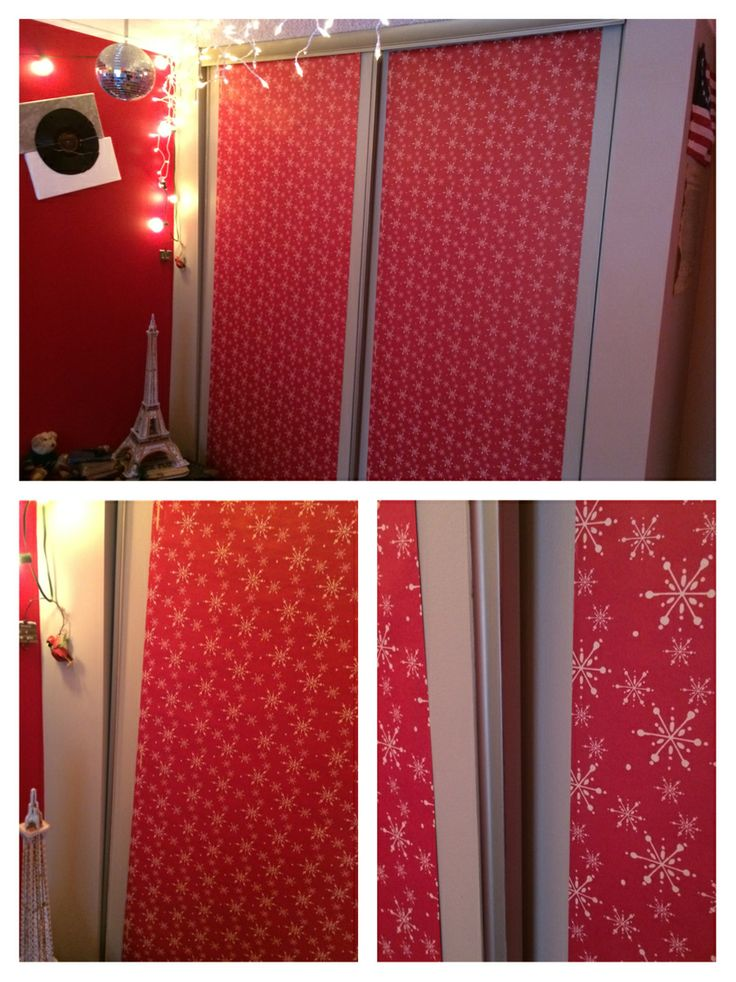 Christmas Wrapping Paper Closet Door Cover My Bedroom