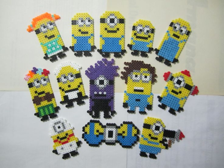 Assorted Minions - Despicable Me perler beads by Angela Albergo
