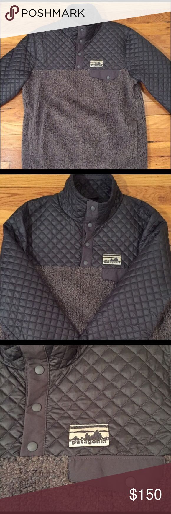 Vintage Patagonia Fleece! Authentic, vintage, worn once, very clean with no signs of wear! Such a cute and different Patagonia! It is dark grey and a fleece pullover :) Patagonia Jackets & Coats