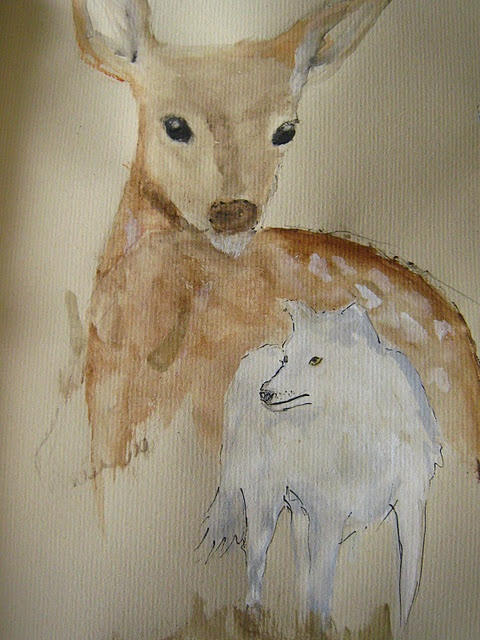 Fawn and Arctic wolf