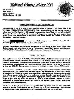 Image result for Publishers Clearing House Real Letters | Win in