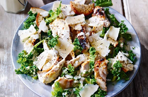 New York kale and chicken Caesar salad has some really bold flavours - and that's why we love it! The secret is in the marinade, which is well worth the wait and full of big flavours like garlic, mustard and anchovies, which bring saltiness. Cook the chicken on the BBQ for all that lovely, smokey flavour, which works so well with this punchy dressing.