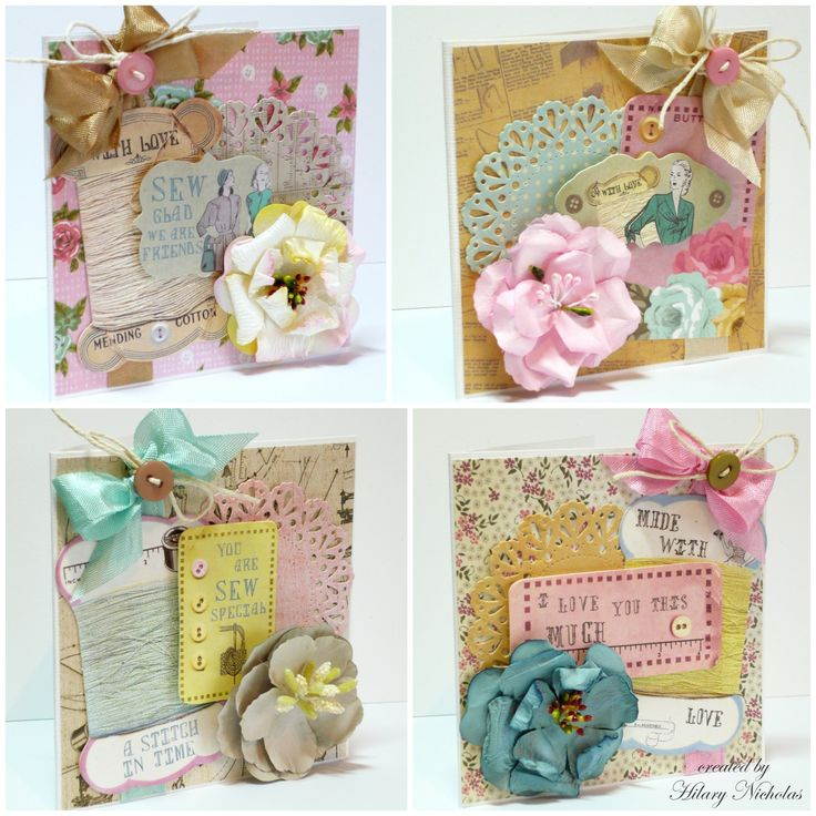A set of 4 small cards made with Kaisercraft's Needle & Thread collection