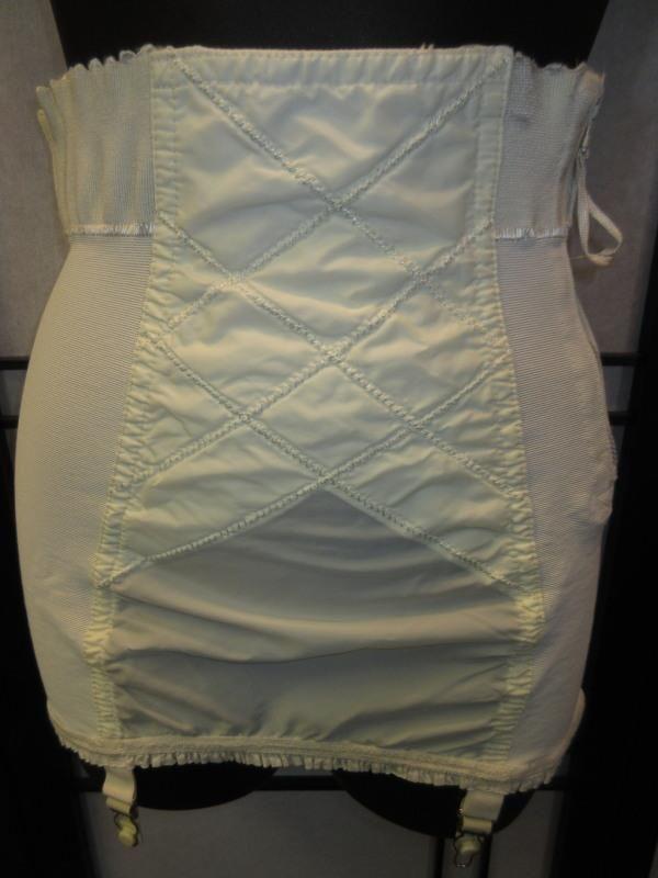 Vtg 50s 60s White Open Bottom Girdle Corset Zipper 4