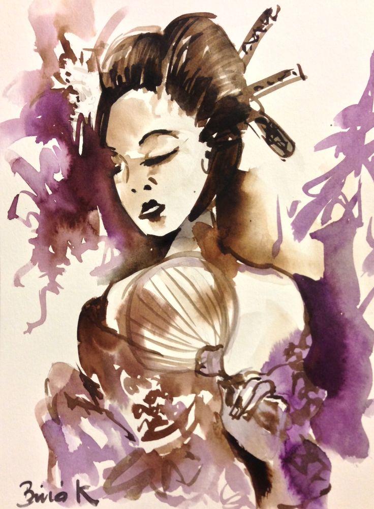 Geisha Konrad Biro watercolor