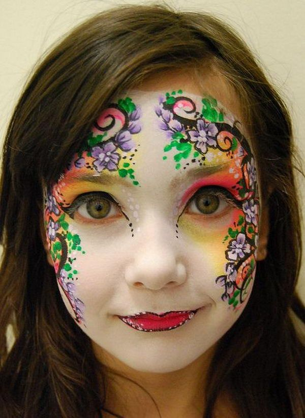 Flower Face Paint. Cool Face Painting Ideas For Kids, which transform the faces of little ones without requiring professional quality painting skills. http://hative.com/cool-face-painting-ideas-for-kids/