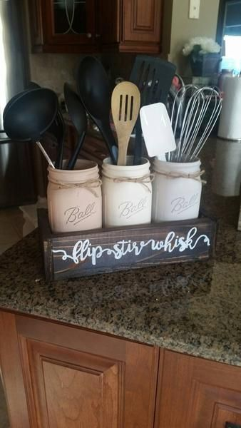 Mason jar table decor - mason jar kitchen decor - rustic kitchen decor – Stacy Turner Creations