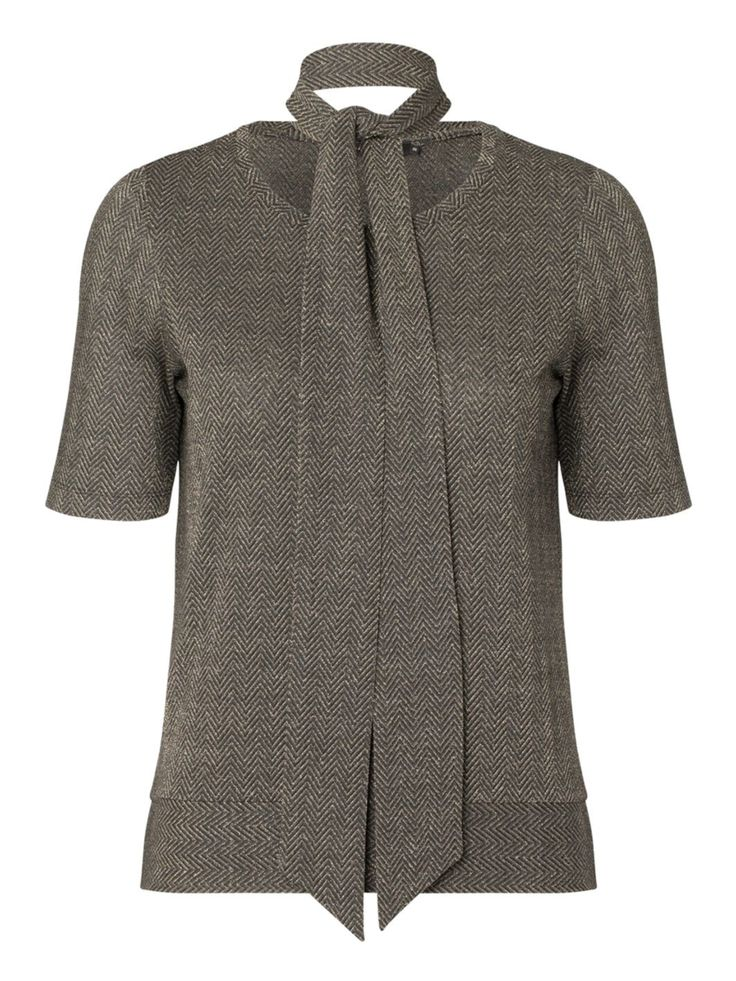 Graumann Jade Tee: A modest top with metalic zigzag weave, match this with the Aura trousers for a complete look or team with trousers or jeans.  It comes with a belt tie which you can accessorize around the waist for more definition.