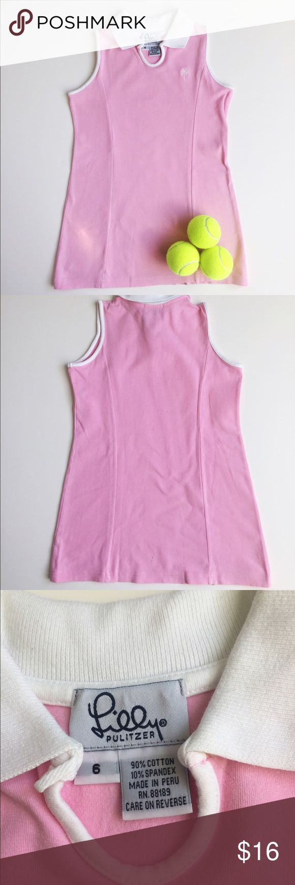 🎾 Lilly Pulitzer girl's tennis dress. Lilly Pulitzer girl's pink and white sleeveless dress.  My daughter wore it for tennis and it was so comfy and cute.  Small stain on back bottom part of dress. Barely noticeable. Other than that, dress is in very good condition. Lilly Pulitzer Dresses Casual