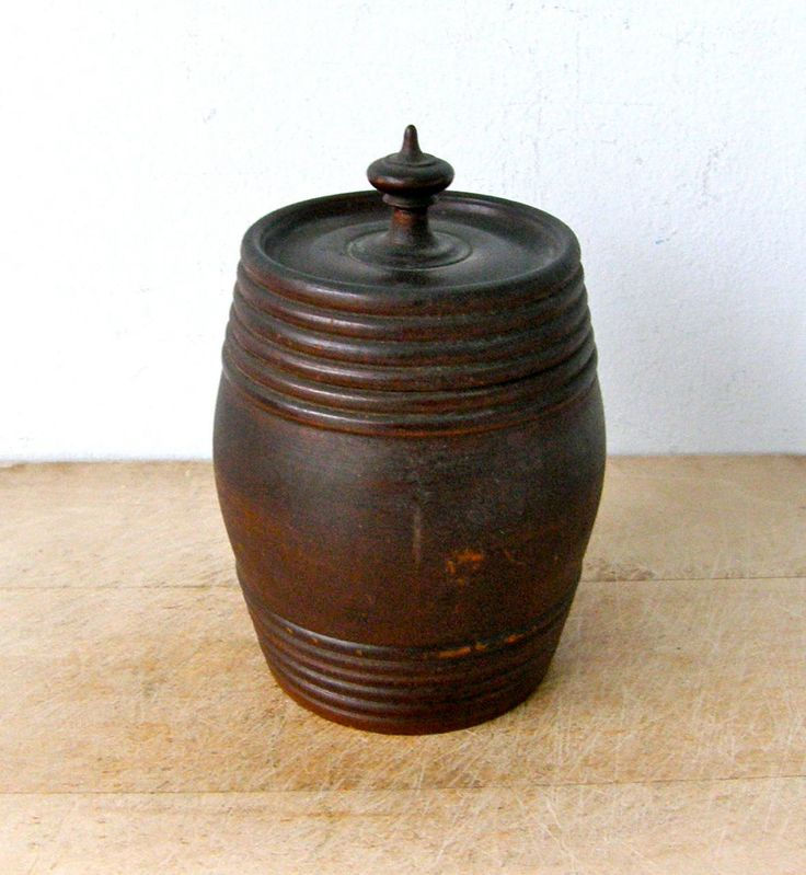 WOODEN BARREL with FINIAL Top Early Wooden Ware Hand Made Ribbed Sides Bulbous Shape Dark Wood American 19th Century by OnceUpnTym on Etsy