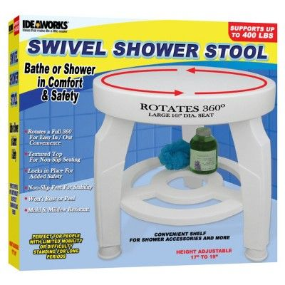 Ideaworks Swivel Shower Stool - White