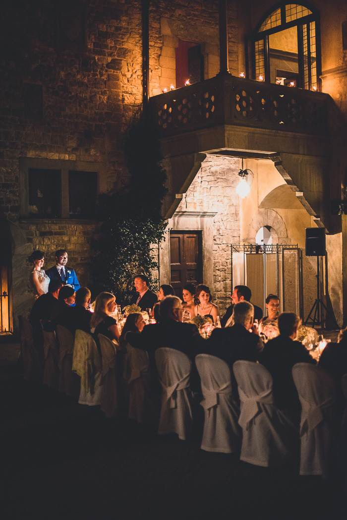 Erin and Trevor's reception for 27 guests in the courtyard at the Castello il Palagio. See their stunning photos by Francesco Spighi @intimarewedding #reception #destinationwedding weddingdecor by #violamalva #Chianti Floral Events