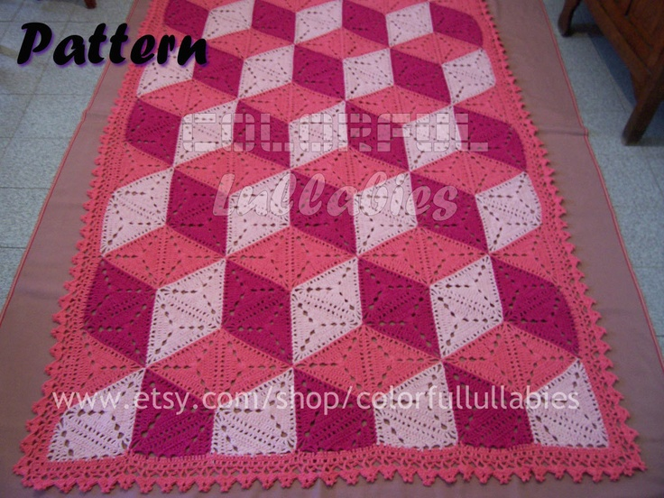 3d Illusion Blanket Crochet Pattern Stacked Cubes