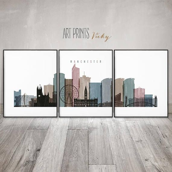 Manchester Prints Posters Large Wall Art Set Of 3 Pieces City Wall Art Large Wall Art City Artwork