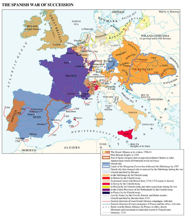 The War of the Spanish Succession (1700-15) was one of the most momentous in European history and brought an end to Hapsburg rule in Spain, with Louis XIV installing his nephew on the throne & his Bourbon descendant still reigning in Spain today. But the war also ended Louis XIV's drive for hegemony in Europe & bankrupted France, creating conditions that ultimately led to the French Revolution less than 75 years later.: