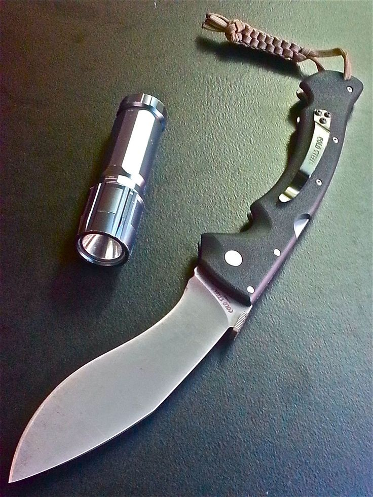 The Cold Steel Rajah II - a folding Kukri knife, 14″ in length when open.  The demo video is a MUST-WATCH: http://youtu.be/JuueEd72enU