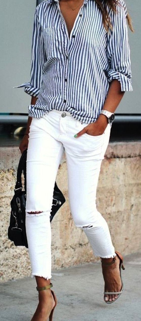 summer outfits  White Jeans And Striped Shirt