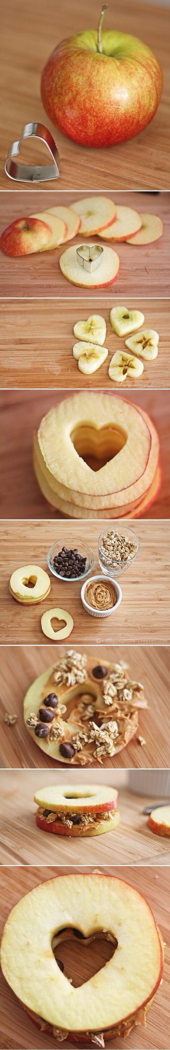 heart apple sandwiches