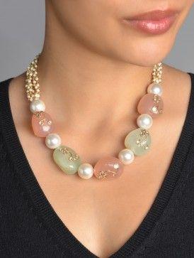 Rose Green Quartz Pearl Kundan Necklace