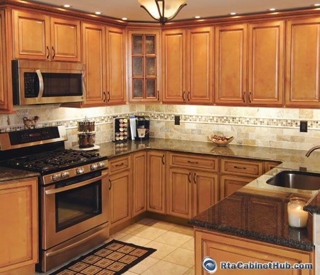 Kitchen Backsplash Ideas With Dark Wood Cabinets: Sandstone Rope - RTA Cabinet Hub - Honey Rope