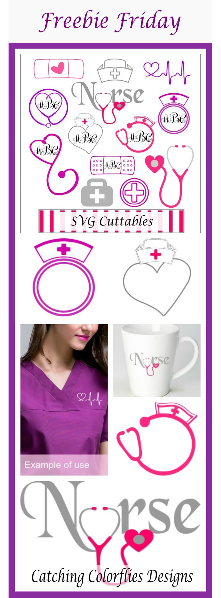 Nursing Monogram Frame SVG, DXF, EPS, PNG cut files. Free SVG files for cricut. Free SVG files for silhouette.