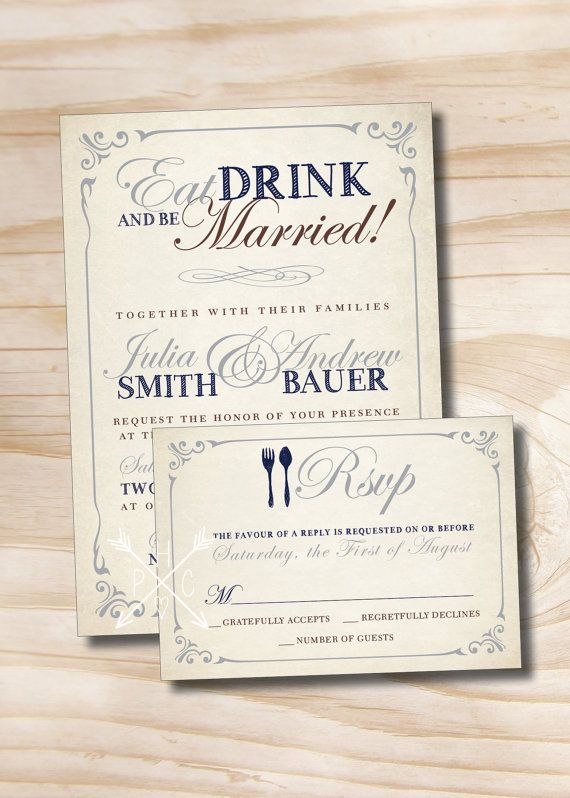 EAT DRINK and Be Married Rustic Wedding Invitation/Response Card - 100 Professionally Printed Invitations & Response Cards