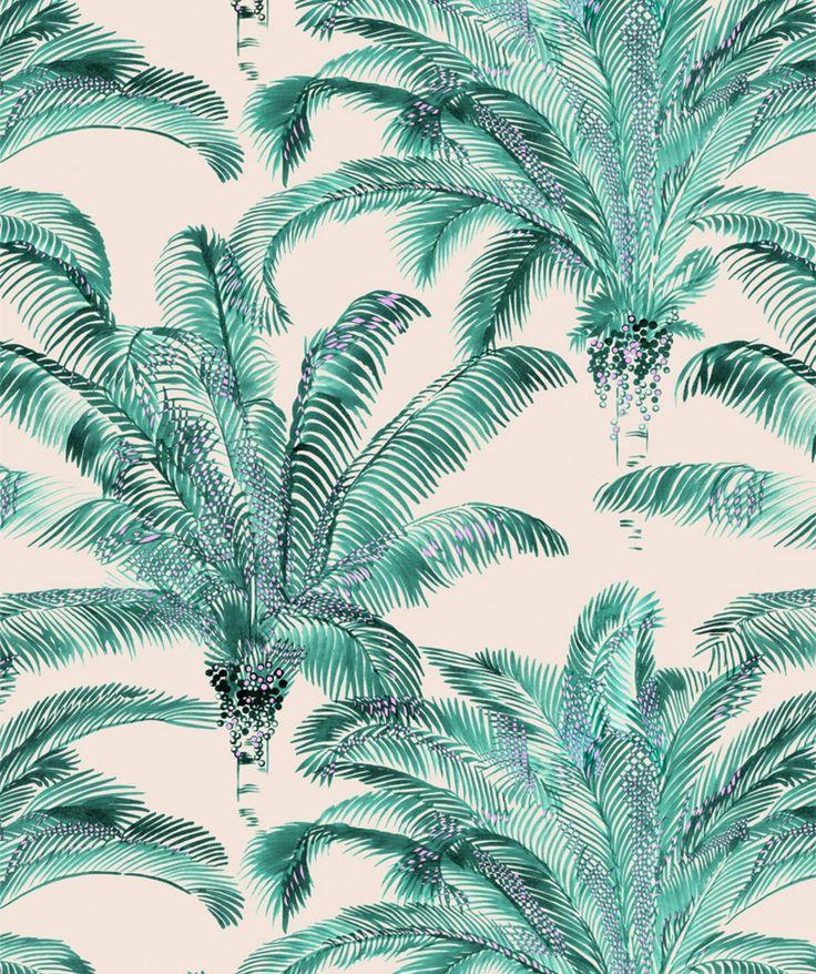 Rideau prêt à poser palmier tissu Bahia Inkfabrik pour Thevenon à découvrir chez Design By O et sur www.design-tendance.com