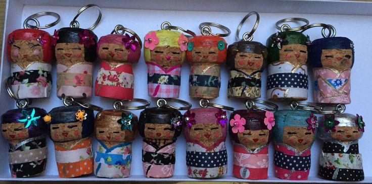 Kokeshi dolls chanpagne cork craft