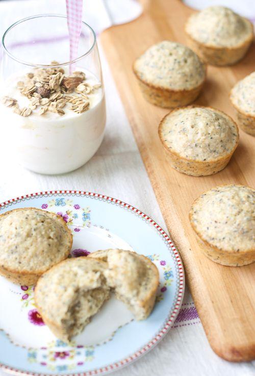 Quinoa - Chia Seed Muffins - going to try 1 tbls lemon peel and 2 tbls lemon juice - skip the sugar - plain greek yogurt - 1 banana