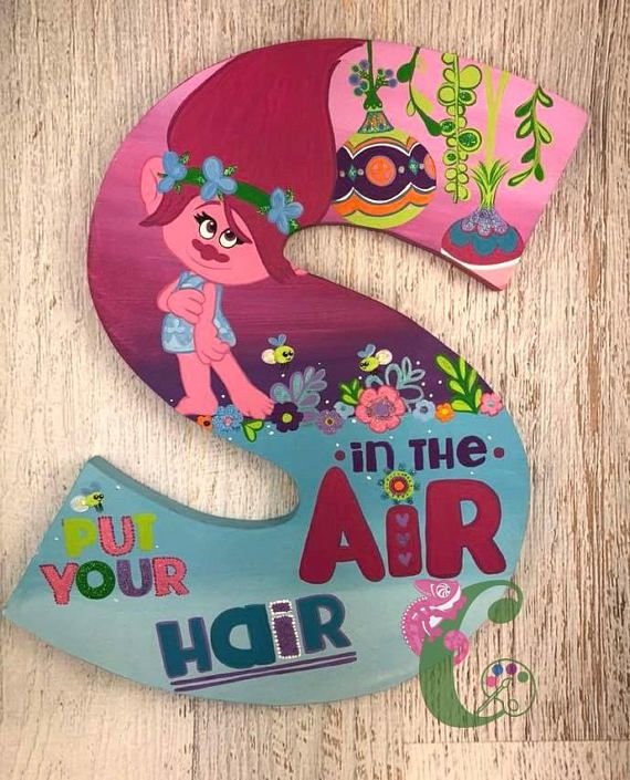 Trolls Letters Wall Decor Nursery Decor Party Birthday Diy Letters Painting Wooden Letters Letter Wall Decor