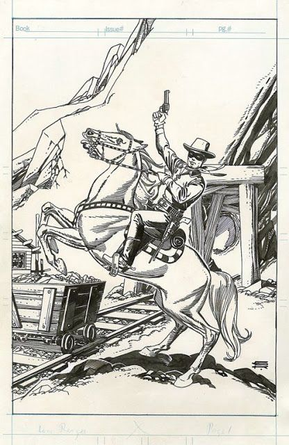 Black and White Wednesday: Original Gil Kane Lone Ranger and Tonto Art